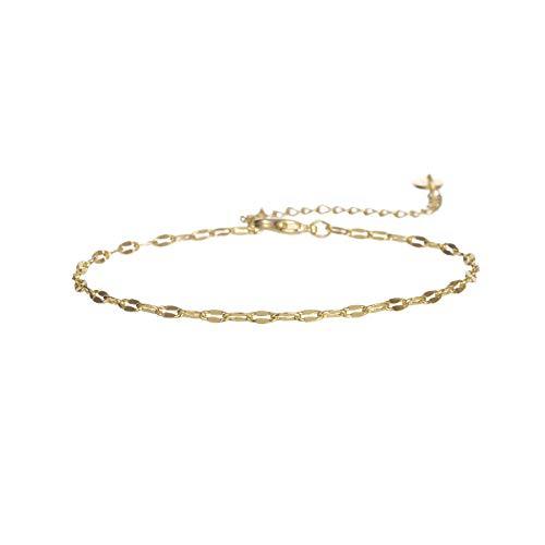 Fremttly Womens Jewelry Gift Dainty Tiny Cross and Lace Chain Bracelet 14K Gold Fill/Rose Gold/Silver Plated Handmade Brecelet-BR-1-Lace 14k Gold Fill Bracelet