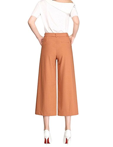 La De Alta Ancho Pantalones Señora Con Bolsillos Pantalon Otoño Pirata Retro Ajuste Libre Tiempo Khaki Mujer Elegantes Primavera Cintura Moda Anchos q6xXCA