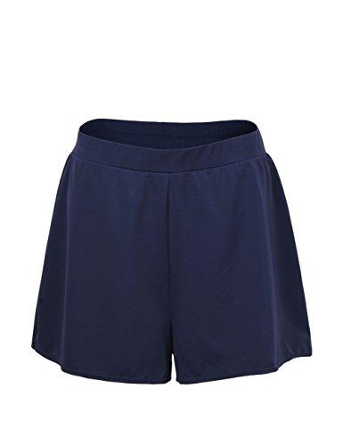 Hilor Women's Boy Leg Swim Bottom UPF 50+ High Waisted Tankini Bottom Swim Brief Swim Trunk Navy 8
