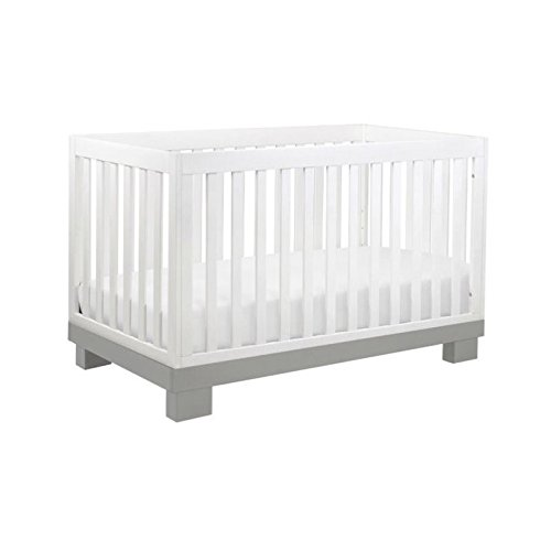 Babyletto Modo 3-in-1 Convertible Crib with Toddler Bed Conversion Kit, Grey/White