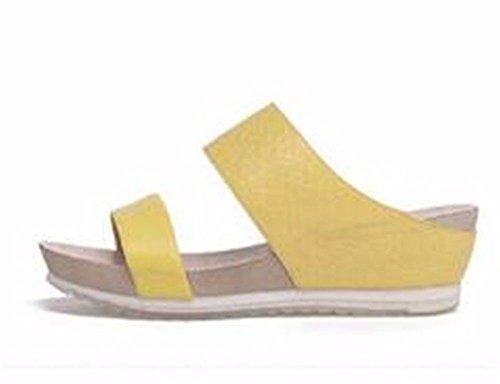 BTBTAV Verano De Cuero Exterior Resistentes Al Deslizamiento con Una Base Plana Cool Zapatillas Código Europeo (36) Blanco European Code (35) Yellow