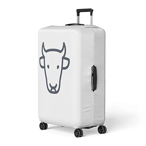 Pinbeam Luggage Cover Livestock Cattle Cow Head Front View Farm Linear Travel Suitcase Cover Protector Baggage Case Fits 18-22 inches