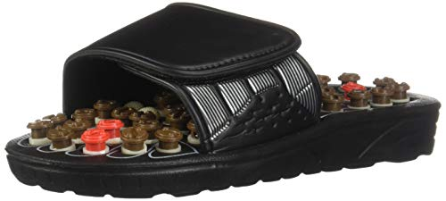 Women's Slip-On Acupressure Reflexology Sandals, Size 7-8 - 81 Acu-Pressure Grip Massagers - Orthopedic Foot Therapy - Holistic Far East Concept - Foot Massager Sandals, Black
