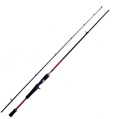 Entsport Sirius 2-Piece 7-Feet Casting Rod Graphite Portable Baitcast Rod Inshore Baitcasting Fishing Rod Freshwater Baitcaster Rod Baitcaster (8-20-Pound Test) (Red 7-Feet Medium) - Split Grip Casting Rod
