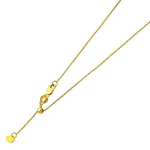 14k Solid Yellow Gold 0.9mm Adjustable Rolo Cable Chain Link Necklace with Lobster Claw Clasp - - Link Gold Cable 14k