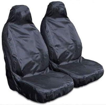 HEAVY DUTY BLACK WATERPROOF RUBBER LINED VAN SEAT COVERS PROTECTOR 2+1
