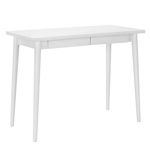 songmics simple wooden writing desk, home office computer desk, study desk with 2 sliding drawers, modern desk with storage for home and office,vanity table, white ulod02wt
