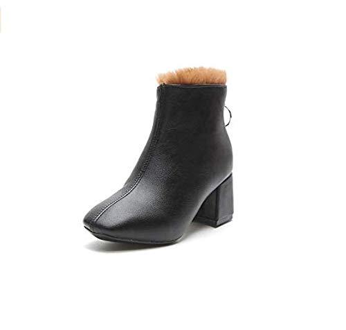 Qiusa High Heels Stiefeletten Britischer Stil Stil Stil High Heel Casual Stiefeletten mit dickem Samt und quadratischem Kopf (Farbe   Schwarz, Größe   36) 376cd6
