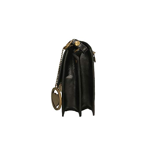 de Pequeño Negro Made Piel cruzado en cuerpo cm maletín in Borse 20x17x7 Italy genuina Chicca t5qHn