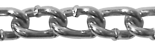 "Campbell 0726627 Low Carbon Steel Twist Link Machine Chain on Reel, Zinc Plated, #2 Trade, 0.15"" Diameter, 125"