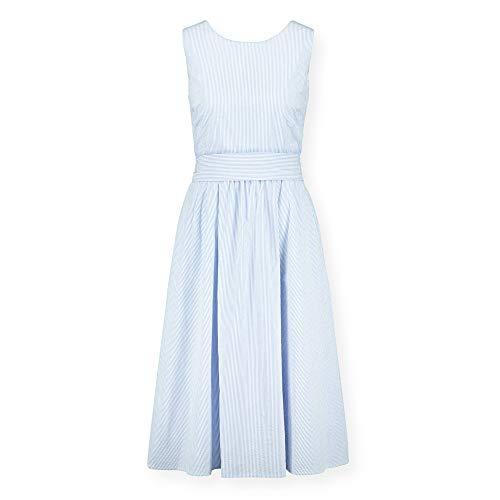 Hope & Henry Womens' Blue and White Striped Seersucker Dress