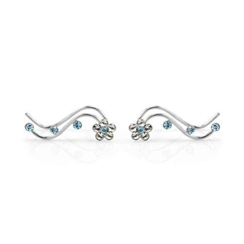 925 Sterling Silver Flower Vine Cuff Earrings - Chuvora Jewelry - Blue Crystal Ear Crawlers