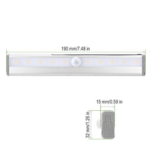 LE LED Motion Sensor Closet Lights, 10 LED Wireless Under Cabinet Lighting, Stick-on Anywhere Night Light Bars with Magnetic Tape for Closet Cabinet Wardrobe Stairs, Battery Operated, 4 Pack by Lighting EVER (Image #5)'