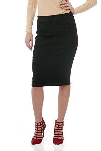 Esteez Jean Skirt for Women Knee Length Brooklyn Black 8 Short ()