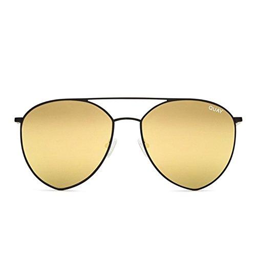 Quay Australia INDIO Women's Sunglasses Jasmine Aviator Teardrop - - Australia And Gold Black
