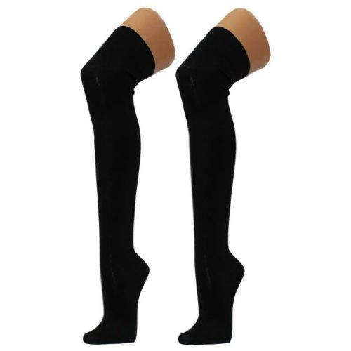 1 Paar Damen Overknee Überknie uni schwarz, Farbe:schwarz;Größe:39-42