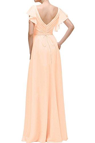 kurzarm Abendkleider Lemon Weinrot V Langes ausschnitt Braut Brautjungfernkleider Gruen Ballkleider Elegant mit Partykleider mia La UAOXqzU