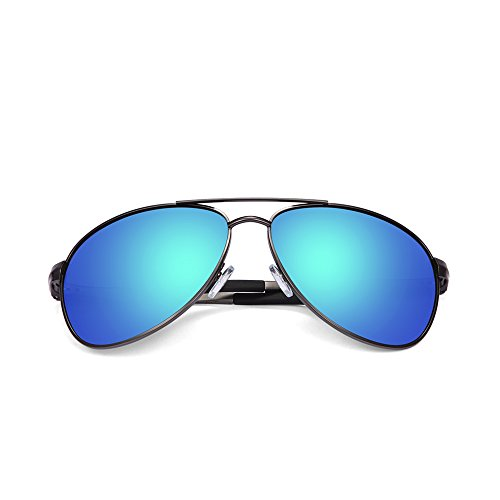 2020VentiVenti Premium Military Style Grey Frame/Blue Revo Lens Aviator 62mm Metal Frame Double Bridge Oversized Polarized Aluminum Sunglasses for Men Women