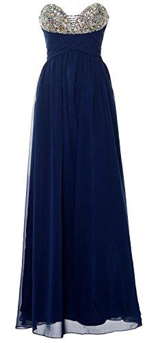 MACloth Women Halter Chiffon Long Bridesmaid Dress Wedding Party Evening Gown (EU42, Azul Marino Oscuro)