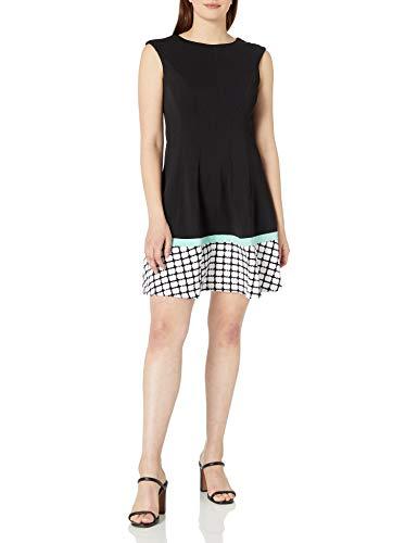 Sandra Darren Women's 1 Pc Sleeveless Extended Shoulder Solid Knit with Border Print Sheath Dress, Black/Mint/Ivory, 12