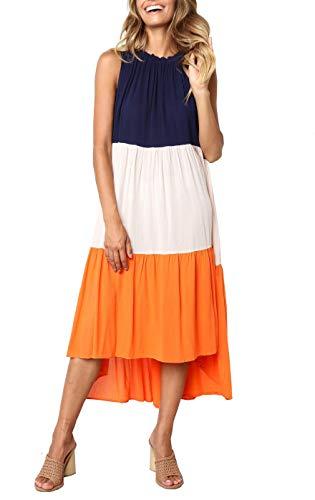 PRETTYGARDEN Women's Summer Sleeveless Color Block Patchwork Pleated Elastic Crew Neck Loose Midi Dress (Orange, ()