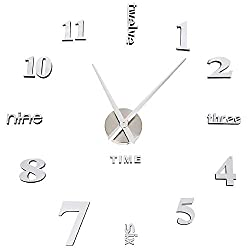 YCDYX DIY Wall Clock Silent Non-Ticking Frameless 3D Mirror Sticker Metal, Home and Office Beautiful Decoration
