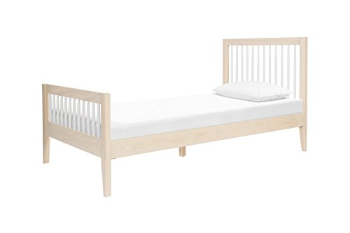 Spindle Bedroom (Babyletto Sprout Platform Twin Bed, Mattress Support Slats Included, No Box Spring Needed, Washed Natural/White)