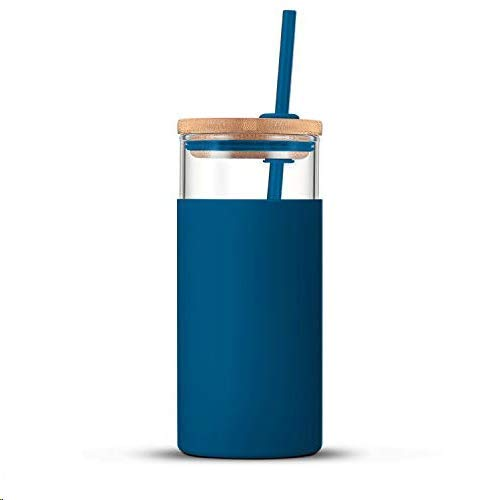 🥇 Tronco 24oz Glass Tumbler Glass Water Bottle Straw Silicone Protective Sleeve Bamboo Lid – BPA Free
