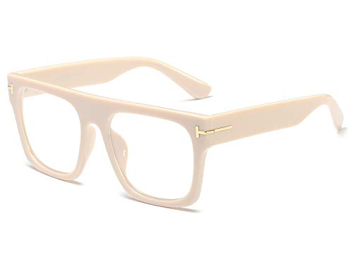 Allt Unisex Large Square Optical Eyewear Non-prescription Eyeglasses Flat Top Clear Lens Glasses Frames (Cream Yellow) ()