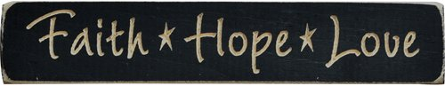 Faith Hope Love Stars Engraved Distressed Wood Plaque Sign Country Primitive Décor by BCD