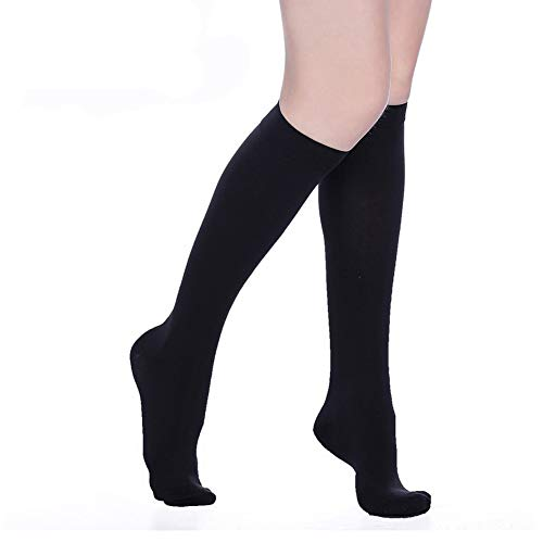 Compression Socks 20-30 mmHg (1 Pair) for Women & Men Best Medical, Nursing, for Running, Athletic, Edema, Varicose Veins, Pregnancy & Maternity - Below Knee High Stockings.(Black,Closed-S)