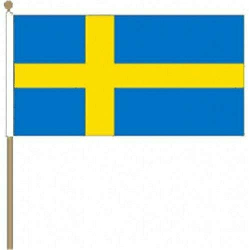 Flagmania® 12 Stück Schweden, 30,5 x 45,7 cm, große Handwinkel-Flaggen + 59 mm Button Badge