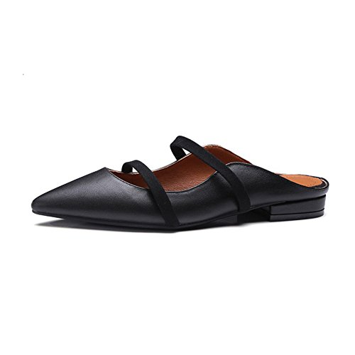 with Black of Rough Leather The Lazy Dragging US Leather Color First 5 Layer Size Head Black Shoes Pointed RnwOCBqEw