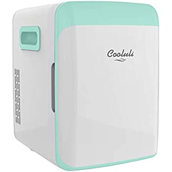 Cooluli Classic Turquoise 10 Liter Compact Portable Cooler Warmer Mini Fridge for Bedroom, Office, Dorm, Car - Great for Skincare & Cosmetics (110-240V/12V)