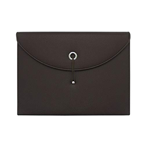 - Heatleper 13 Pockets Portable PU Leather A4 Size Expandable File Folder Accordion Document Organizer (Brown)