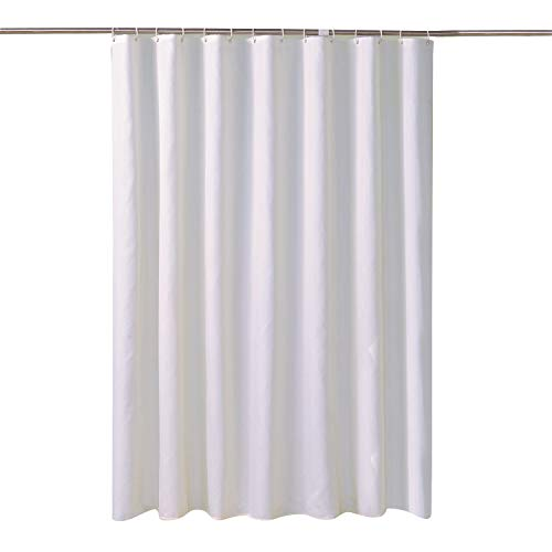 lanshe)Fabric Shower Curtain Liner, Waterproof Water Resistant Bathroom Curtain Set , White, 72 by 80 Inch, Includes 12 Hooks (White, 72x80)