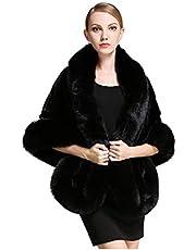 BEAUTELICATE Faux Fox Fur Long Shawl Cloak Cape Coat for Women's Party -S64(More Colors)
