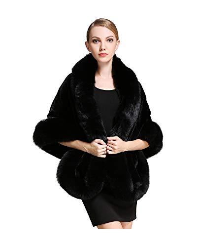 BEAUTELICATE Womens Faux Fur Shawl Wrap Stoles for Bridal Wedding Dresses-S64 Black