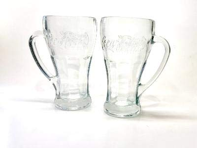 Coca-Cola Bell Mugs Set, Clear Glass with Handle 14.5 oz. (2 Ea.)