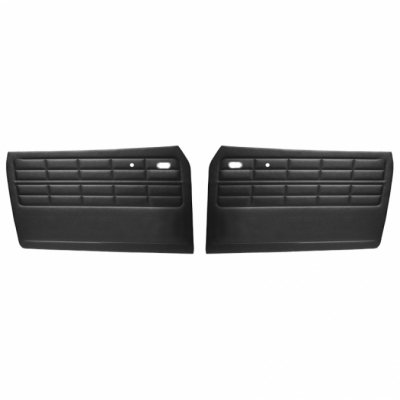 VW Front Door Panels, w/o Pockets, Black Smooth Vinyl, Karmann Ghia Coupe and Convertible 1964-1974 (Panels Door Tmi Front)