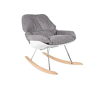Zuiver Rocky Chair Chaise A Bascule Blanche Avec Rembourrage En Tissu Gris Face