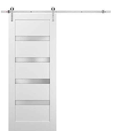 Sliding Barn Door 42 x 96 with Stainless Steel 8ft Hardware | Quadro 4113 White Silk with Frosted Opaque Glass | Top…