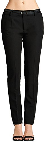 ToBeInStyle Women's Classic Woven Business Pants w/Belt - Black - 2X by ToBeInStyle