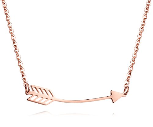 Lazycat Rose Gold Arrow Pendant Cupid Arrow Long Arrow Pendant bar Necklace Jewelry