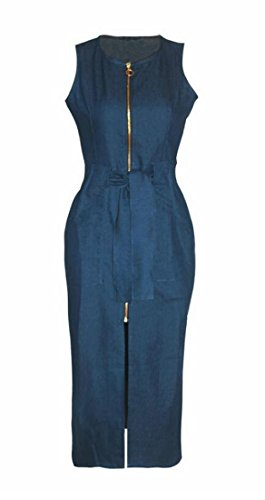 Sexy Front Denim Slit Blue Bodycon Fit Domple Women's Slim Sleeveless Dress qnFSp