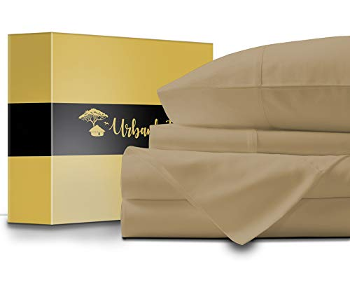 URBANHUT Egyptian Cotton Sheets Set - 1000 Thread Count 100% Cotton Bed Sheets Queen (4 Piece), Luxury Queen Size Sheets, Deep Pocket, Soft & Silky Sateen Weave (Sand)