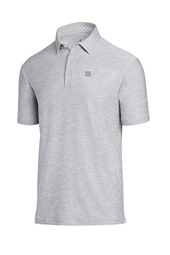Gusta Shirt - Three Sixty Six Golf Shirts for Men - Dry Fit Short-Sleeve Polo, Athletic Casual Collared T-Shirt Grey