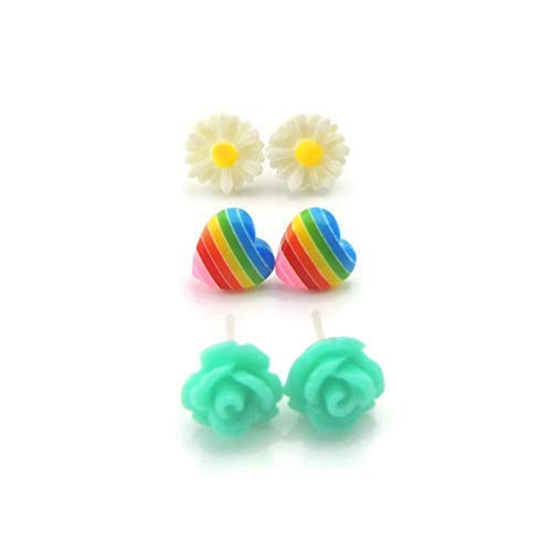 Metal Free Plastic Post Earrings Gift Set, Teal Rose, Rainbow Heart, Daisy
