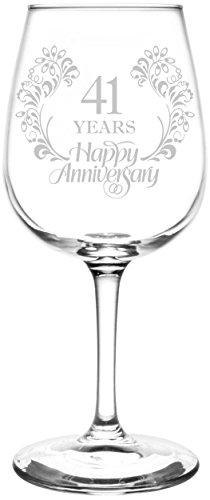 (Personalized & Custom (41st) Beautiful & Elegant Floral Happy Anniversary Wedding Ring Inspired - Laser Engraved 12.75oz Libbey All-Purpose Wine Taster Glass)