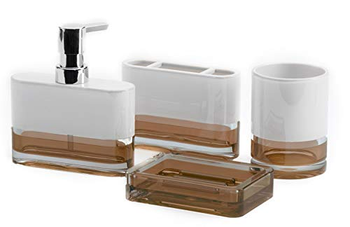 IMMANUEL Float Designer 4-Piece, Translucent Modern Brown White Bathroom Accessory Ensemble Set (Tumbler, Toothbrush Holder, Lotion Dispenser and Soap Dish Included), Durable MS Acrylic Bath Organizer